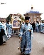 Крестный ход в день прибытия с Афона в Томск чтимого списка с Иверской иконы Божией Матери.