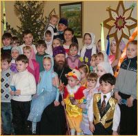 Учащиеся Воскресных школ Томска поздравили архиепископа Ростислава с праздником Рождества Христова