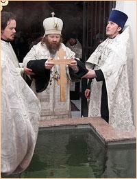 Архиепископ Ростислав совершил Божественную литургию и чин великого водоосвящения в Богоявленском соборе Томска