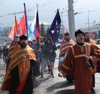 Томские православные следопыты приняли участие в Георгиевском параде в Кемерово