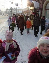 Учащиеся воскресной школы Богоявленского собора поздравили томичей с Рождеством Христовым