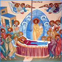 Величаем Тя, Пренепорочная Мати Христа Бога нашего, и всеславное славим успение Твое.