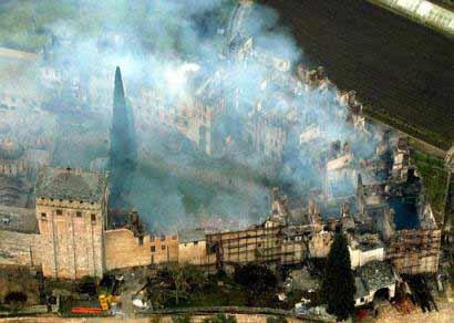 Снимок пострадавших монастырских корпусов с воздуха (фото Reuters)