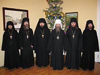 Братия монастыря поздравила митрополита Ростислава с Рождеством Христовым