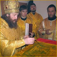 Освящение антиминса храма в честь иконы Божией Матери «Всецарица»