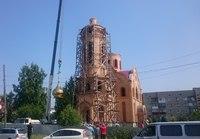 Строящийся храм в городе Асино обрел свой малый купол.